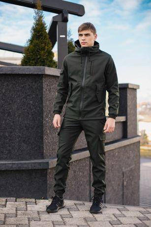 Тактическая куртка штаны костюм черный SoftShell Софтшел мужской спорт