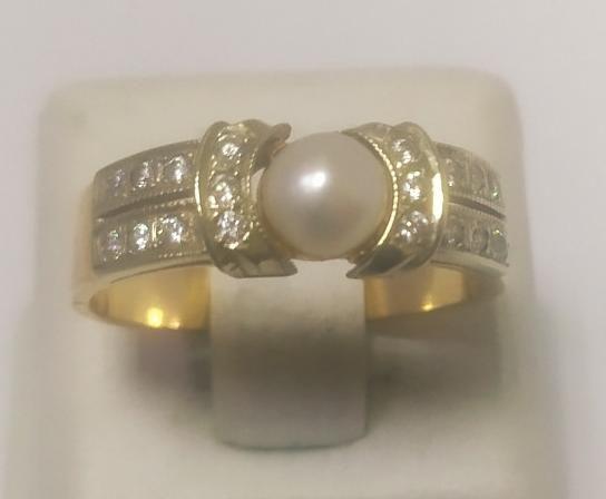 Кольцо из красного золота с жемчугом и цирконием (12559448) (12559448)