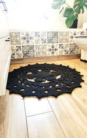 Dywan ze sznurka czarny handmade 92 cm