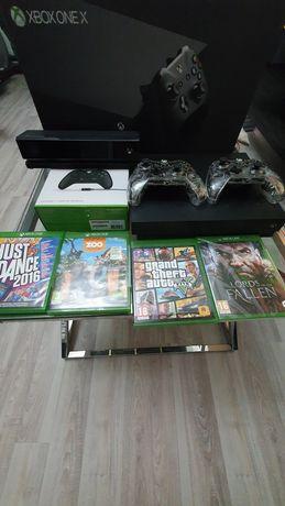 Xbox one X  + sensor kinect + 3 pady i 4 gry