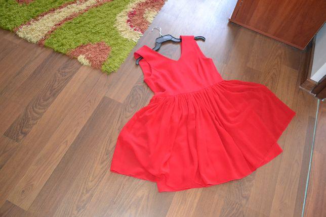 NOWA Sukienka czerwona rozkloszowana, rozm. M/L