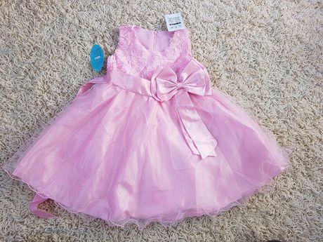 Różowa Sukienka Wizytowa Elegancka 116 122 Kokarda Jasny Róż Nowa