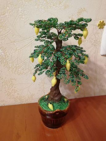 Лимонное дерево из бисера