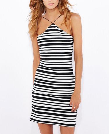 topshop 36S 34XS biala krotka sukienka w pasy paski triangle czarna