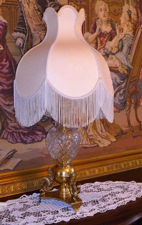 """Candeeiro mesa, """"Vintage"""" pé cristal e latão"""