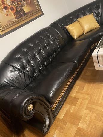 Wypoczynek skórzany czarny Versacze - narożnik