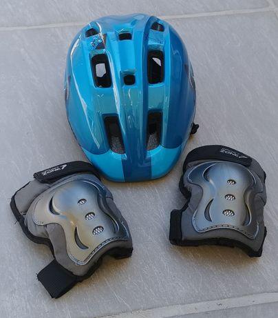 Proteções criança bicicleta