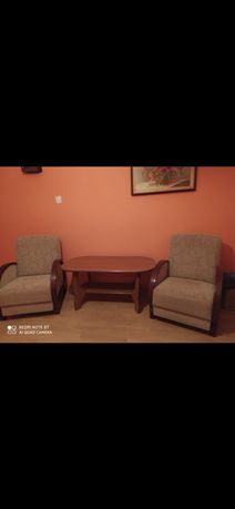 fotele i ława z litego drzewa