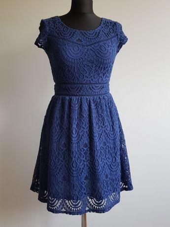 Sukienka koronkowa granatowa niebieska z koronki rozm. S