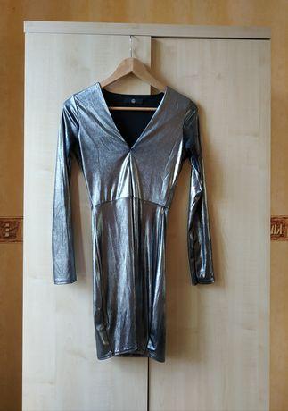Nowa sukienka Missguided srebrna S