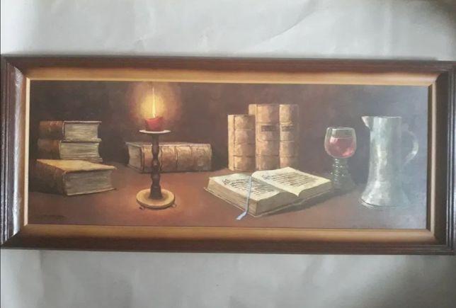 Duży panoramiczny Obraz książki ze świecą na stole. Klimatyczny