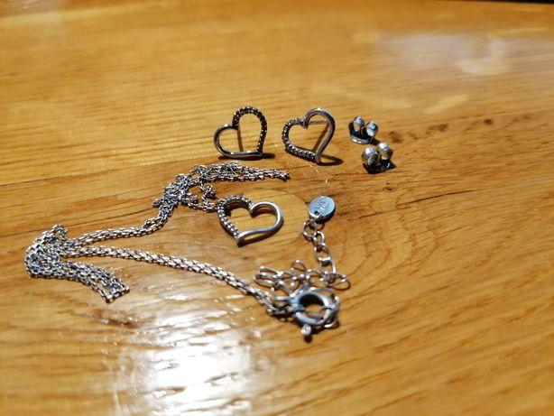 Biżuteria srebrna: kolczyki, zawieszka, łańcuszek