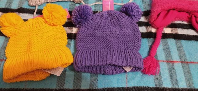 Шапка в'язана / шапка шапочка с ушками 52 / шапка для дівчинки
