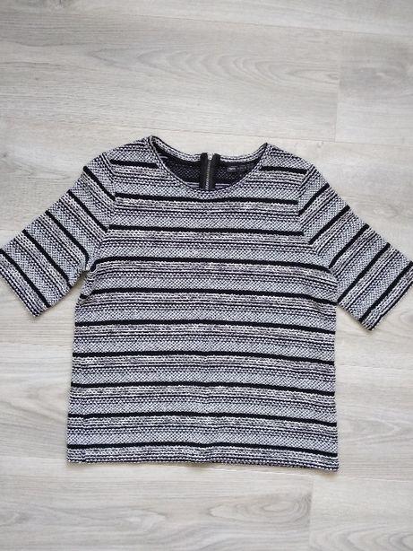 Błyszcząca bluzka koszulka w paski Next (S)