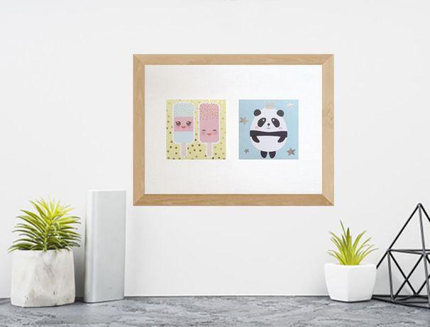 śmieszny plakat z pandą, plakat z lodami, plakat do kuchni pastelowy