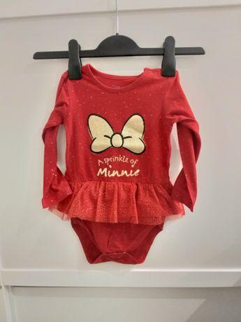 Disney baby body ze spódniczką tiul minnie brokatowa kokarda 86