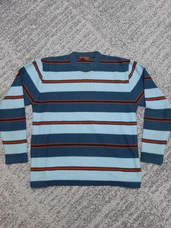 ZYM Club sweter męski w paski gruby zimowy rozmiar M ciepły niebieski