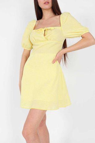 Платье в клетку желтое зеленое лиловое
