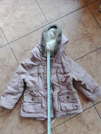 Zimowa ciepła kurteczka kurtka 90 cm 18-24 mc - stan bdb