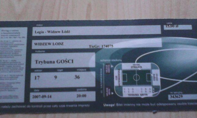 bilet Legia Warszawa -Widzew Łódź 2007.09.14