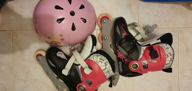 Patins em linha criança/menina e capacete