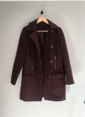 F&F bordowy burgundowy płaszcz guziki M