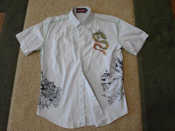 Рубашка белая (вышивка, принты; короткий рукав) на мальчика 10-12 лет