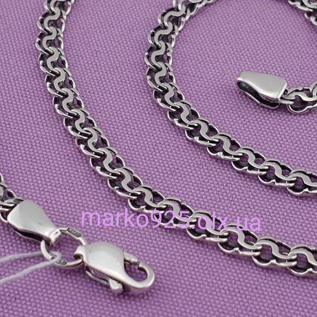 New! Мужская серебряная цепочка молния. цепь серебро 925