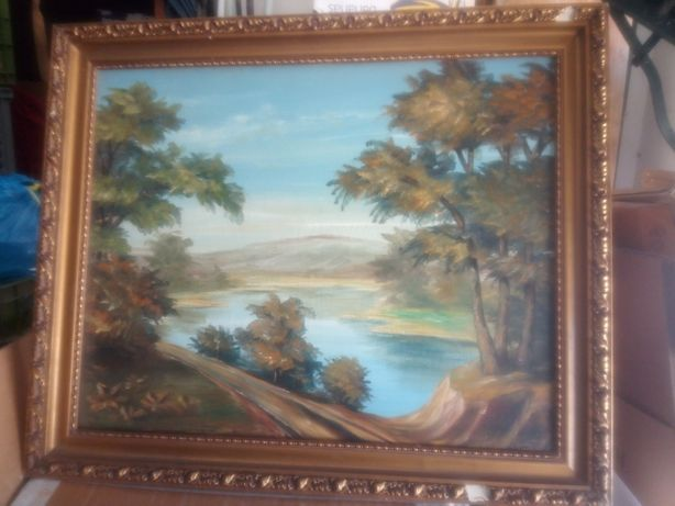 Linda grande antiga pintura - paisagem - assinada
