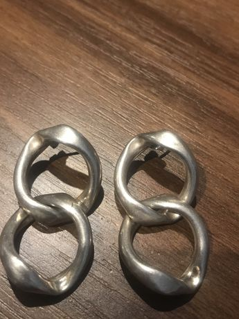 Kolczyki stare srebro z probami