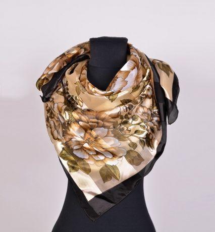 Шикарный платок шелк+атлас! Большой размер.