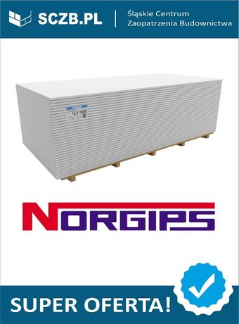 Płyta GKB gipsowa gipsowo kartonowa karton gips NORGIPS 1,2x2,6