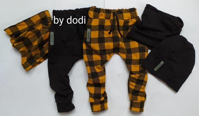Spodnie dresowe baggy, czapki kominy r68-134