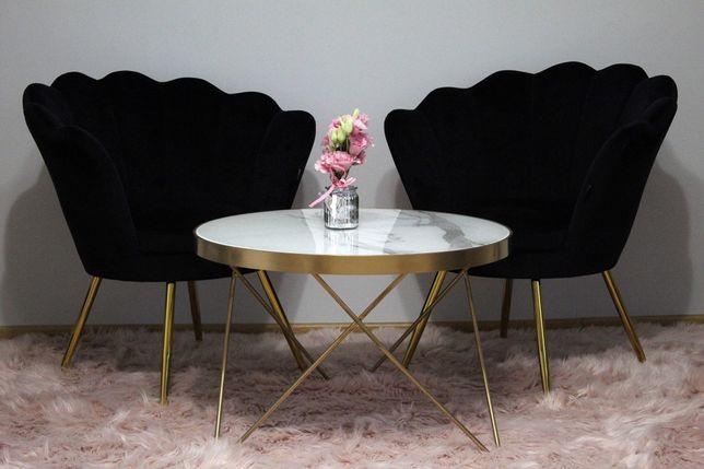 Stolik z blatem marmurowym, złoty
