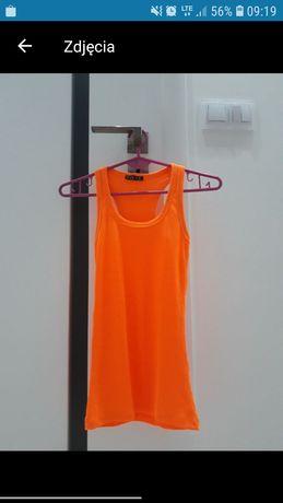 Bluzka damska koszulka top bokserka XS 34 pomarańczowa na ramiączkach