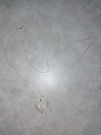 Łańcuszek, wisiorek serce, serduszko srebrny