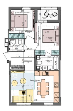 Продаю 2к квартиру 61 кв. м, Салютная улица 2Б, ЖК Файна Таун