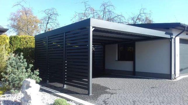 Wiata garażowa, garaż, carport dwustanowiskowy, system horyzontalny