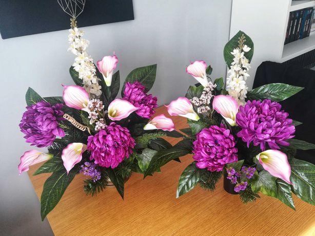 Wiązanka nagrobna ze sztucznych kwiatów - komplet