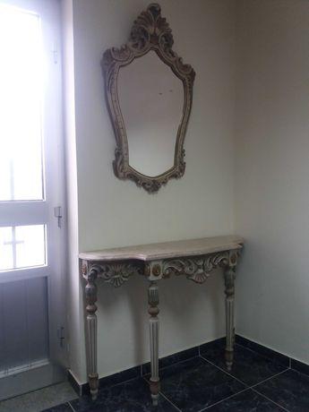 Conjunto móvel decorativo de entrada com tampo em mármore e espelho