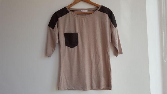 ORSAY bluzka koszulka T-shirt beż brąz skóra ekologiczna i materiał, s