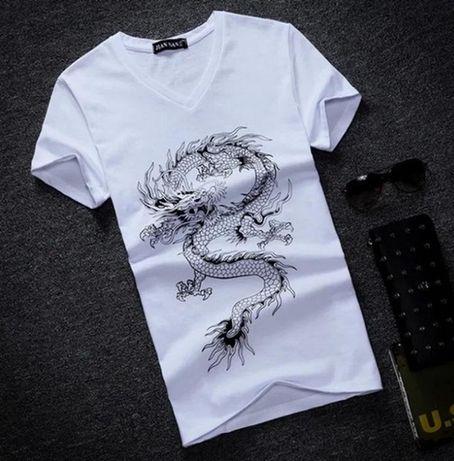 Белая мужская футболка хлопок с коротким рукавом T-Shirt с пpинтoм