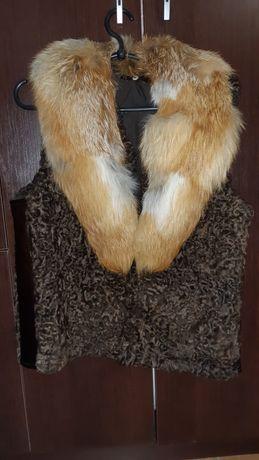 Мутоновая + лисица мех жилетка