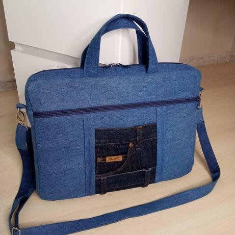 Torba na laptopa torebka jeansowa dżinsowa (handmade upcykling)