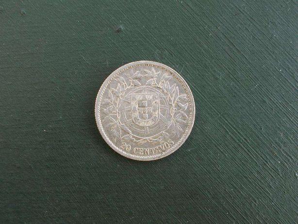 Moeda Portuguesa 1916 Prata 20 centavos