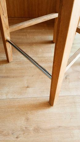Hoker krzesło barowe dębowe lite 3 szt. Tapicerka zielona