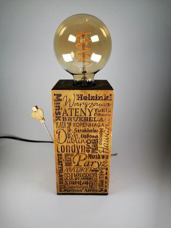 Lampka nocna lampa edison vintage drewno stolice