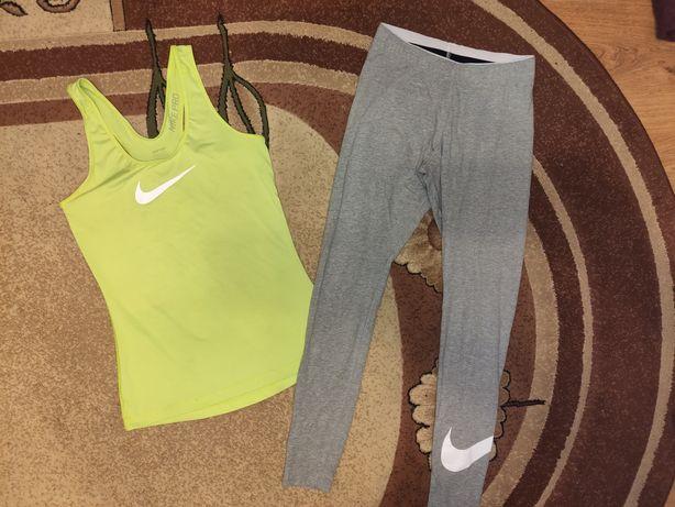 Nike seledynowa bokserka i szare legginsy r. S i M