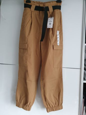 Bojówki cargo spodnie nowe karmelowe brązowe vintage wysoki stan m 38