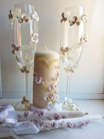 Свадебные бокалы, свечи. Свадебный набор.